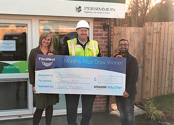 Jay Liladhar pictured with FibreNest Sales Support Manager, Sarah Morgan (left), and Persimmon Homes Site Manager, Aaron Willetts (centre)