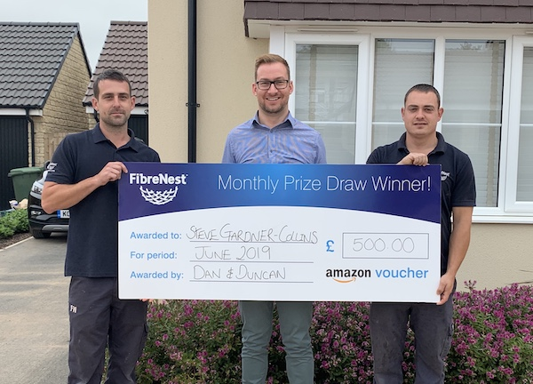 Mr. Gardner-Collins pictured with FibreNest Engineers Daniel Crouch (left), and Duncan Mapstone (right).