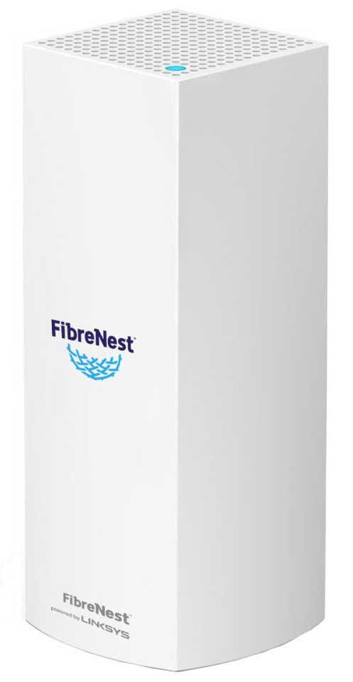 White super fast FibreNest router connected to the internet